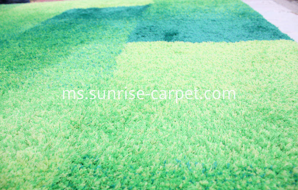 microfiber shaggy with design short pile green