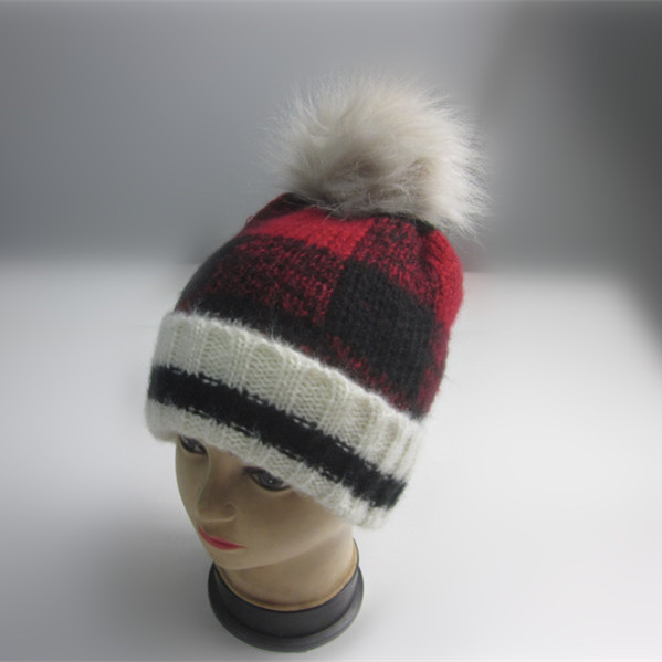 Detachable Pompom Plaid Cuff Beanie