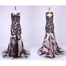 A-Line Sleeveless Lace Wedding Dresses 2015 Black Chiffon Court Train Wedding Gown