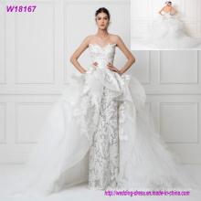 Alta qualidade strapless elegante vestido de noiva de tule 2017 bordado vestido de noiva