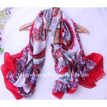Large voile paisley print scarf