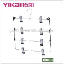 Foldable and multifuctional space saving 4-tier chrome plated metal skirt hanger