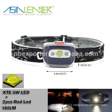 Powered By 3*AAA Battery 1W CREE LED+1 RED LED Head Lamp