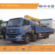 FAW 8*4 truck vehicle with crane 16tons