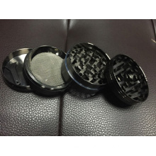 CNC Teeth Weed Grinder, Tobacco Grinder 50mm 4 Parts Black and Silver Color