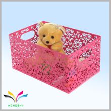 cesta de armazenamento vermelho de brinquedo de fio de metal