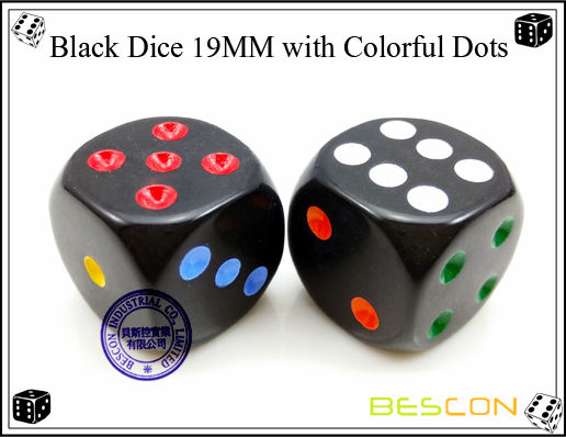 Black Dice 19MM with Colorful Dots-2