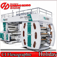 Doble Winder Flexo Printing Machine / Six Color Film Film Flexographic Printing Machine