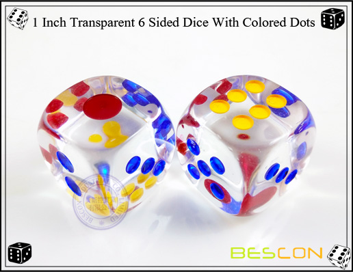 1 Inch Transparent 6 Sided Dice With Colored Dots