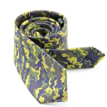 Cravate jaune faite sur commande de mens de soie militaire de Camo vert