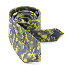 Пользовательские Зеленый Камуфляж Военные Мужские Шелковый Желтый Галстук