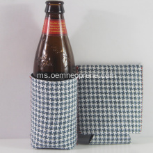 Grid Gray Neoprene Beer Cooler Cover