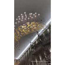 Large hotel banquet hall lighting design modern fashion vivid gold project led chandelier