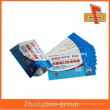 Lado superior de grado 3 sellar bolsas de papel de bolsita vacías pequeñas para la medicina con muesca de lágrima