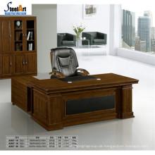 Bürotisch-Design des runden Randes MDF-Papierbüro-Schreibtisch-Cheftischs hölzernes