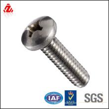 Parafuso de máquina de aço inoxidável, cabeça de bandeja, unidade de Phillips, linhas de mão direita, polegadas / MM