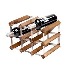 9 Bottle European Wood and Galvanized Steel Wine Rack