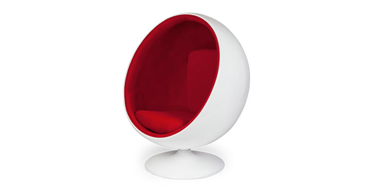 White fibreglass shell ball chair