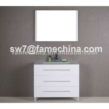 three door with glass basin MDF washroom cabinets
