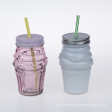 colorful glass bottles with straw 500ml cold drinks cup glass bottle for drinks