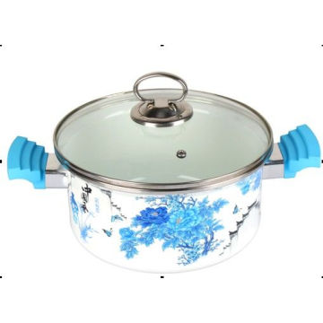 Enamel Pot with Glass Lid, Stainless Steel Knob, Bakelite Handle