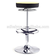 2017 hohe Qualität schwarz / gelb Stoff Swivel Barhocker Counter Stuhl mit wiegenden basis