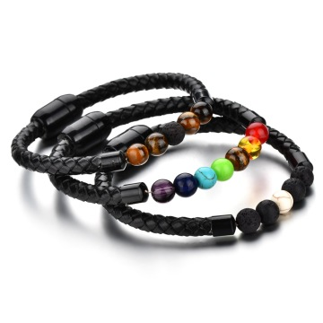 Fashion Beads Leather Magnetic Clasp Bracelet Mens Bracelets
