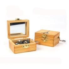 artesanato de madeira eco-friendly mecânica crianças manivela caixa de música