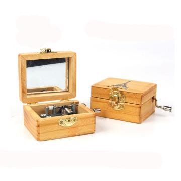 artisanat en bois respectueux de l'environnement mécanique enfants main manivelle boîte à musique