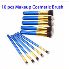 Private Label 10PCS Professional Foundation Blue Cosmetic Brushes