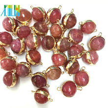 Unique Design 2 loop Connector Faced Bead Ball Agate Charms For MakingJewelry
