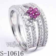 925 Sterling Silber Blume rosa Zirkonia Frauen Ring (S-10616)
