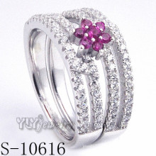 925 Sterling Silver Flower Pink Zirconia Women Ring (S-10616)