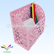 Pink Die Cut Metal Counter Table Memo Cube Com Suporte de Caneta para Pastas