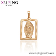 33727 xuping nuevo diseño oro rectángulo retrato religioso moda colgante