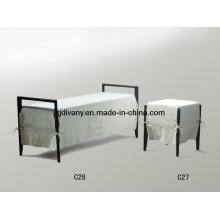 Dormitorio madera tela cama taburete de estilo italiano (C27 y C28)