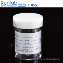 Ce Marked PS 60ml Universal Specimen Containers with Screw Cap and Printed Label