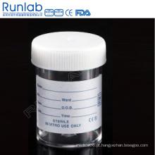 Ce Marked PS 60ml Universal Specimen Containers com tampa de parafuso e etiqueta impressa