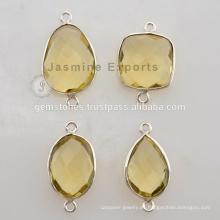 Conectores de piedras preciosas de cuarzo de limón, Conectores de bisel de plata 925 Fabricante