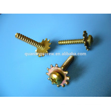 Pan head with spring washer yellow zinc plated screw