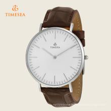 Relógio análogo de quartzo do seletor branco dos homens com correia de couro 72277