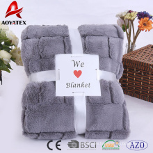 new design 100% polyester double layers flannel faux fur blanket