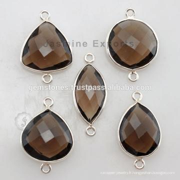 Fournisseur de bijoux en pierres gemmes Naturel Smoky Bezel, 925 Silver Bezel Setting connectors Fournisseurs
