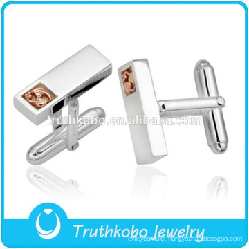 L-C0010 Fashion Mens Silver Cufflinks Rose Gold Accessory Stainless Steel Cuff Link