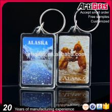 Fabricant acrylique porte-clés clair photo blanc porte-clés acrylique