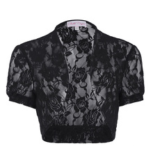Belle Poque Women's Short Sleeve Cropped Short Lace Bolero Shrug BP000217-1