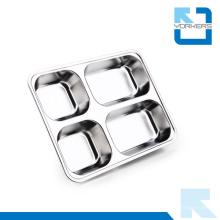 Большая емкость 304 нержавеющая сталь поднос еды и Lunchbox с 4 делителями