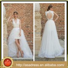 МБВ-18 2015 новое Прибытие Sweethaert свадебное платье сексуальная Замочная скважина назад дизайн высокая низкая свадебное платье для пляжа свадьбы