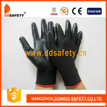 Nitrilo negro con guantes de seguridad Mini Dotsglove-Dnn429