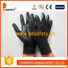 Schwarzes Nylon mit schwarzem Nitril-Handschuh Dnn429